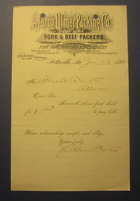 Old 1898 JACOB ULMER PACKING Co. Pottsville PA. Billhead Document - Pork & Beef