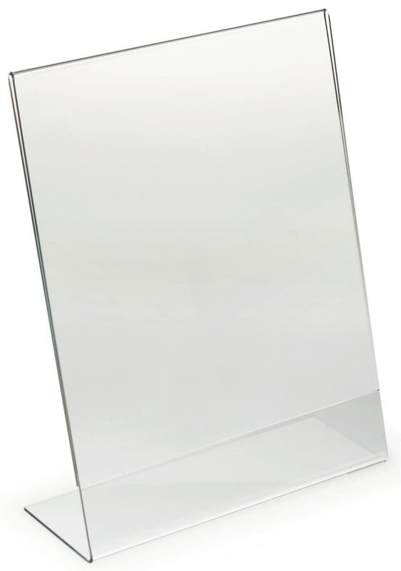 "Dazzling Displays 10 Acrylic 8-1/2"" x 11"" Slanted Sign Holders"