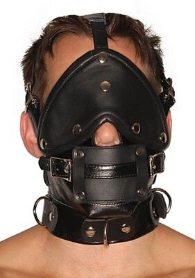 GENUINE LEATHER FACE MUZZLE HOOD MASK WITH BLINDFOLD HOOD-1