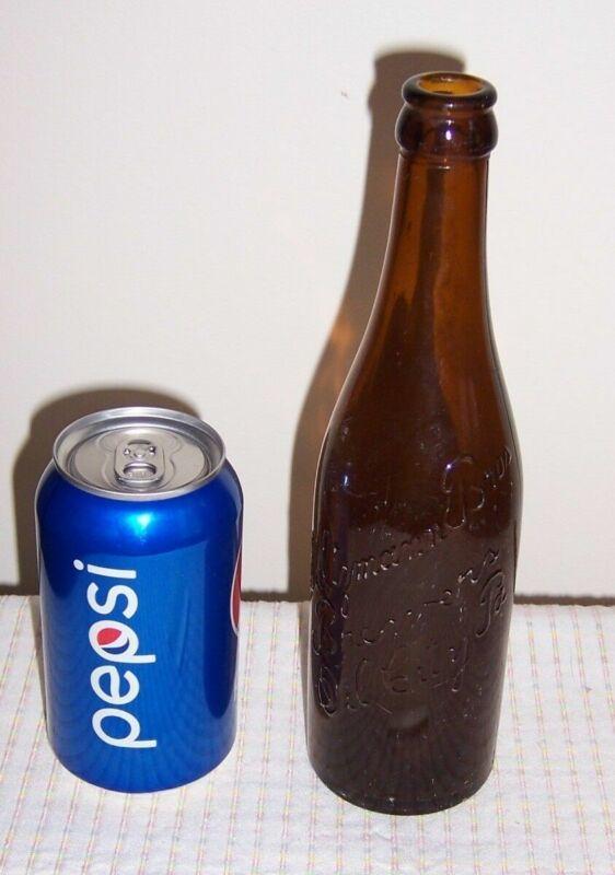 Saltzmann Bros. Brewers Oil City, Pa. - Embossed Script Amber Brown Beer Bottle