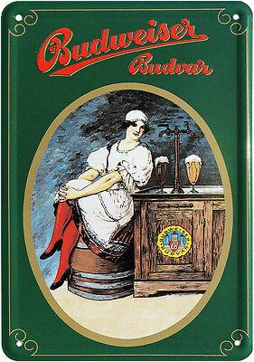 Budweiser Budvar Bier Nostalgie Blechschild Postkarte Reklame Blechkarte PKM 61