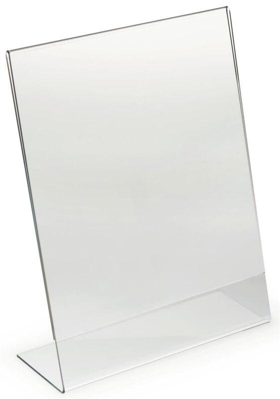 "Dazzling Displays 25 Acrylic 8-1/2"" x 11"" Slanted Sign Holders"