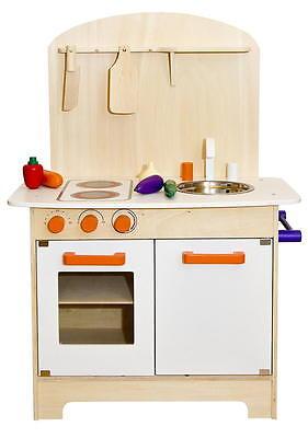 Kinderküche aus Holz Spielküche Küche Kinder Spielzeug Holzküche weiß orange NEU - 3