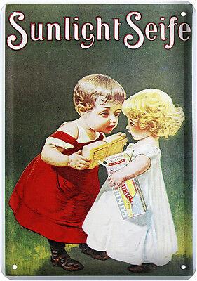 Sunlight Seife Nostalgie Blechschild Postkarte Reklame Retro Blechkarte PKM 57