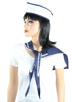 Matrosen Kostüm Set Halstuch Mütze für Damen und Herren Matrosin Seemann Seefrau (Damen Seemann Kostüme)