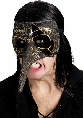 Adult Venetian Masquerade Raven Carnival Creeper Bird Crackle Mask Costume