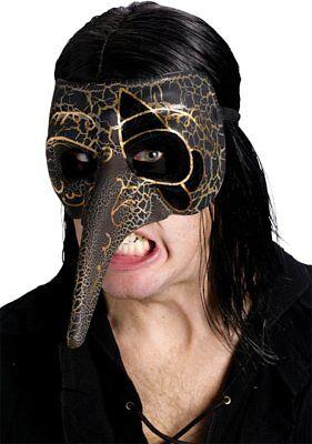 Adult Venetian Masquerade Raven Carnival Creeper Bird Crackle Mask Costume - Raven Masquerade Mask
