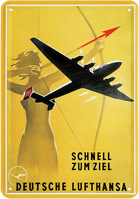Deutsche Lufthansa Flugzeug Nostalgie Blechschild Postkarte Blechkarte PKM 73