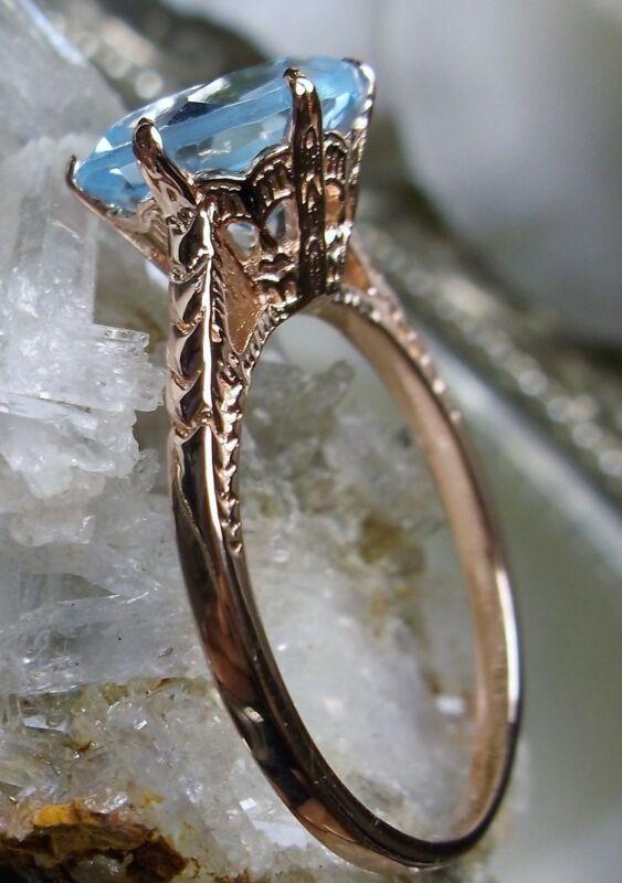 Blue Topaz Sterling Silver & Rose Gold Edwardian Filigree Ring {Made To Order}