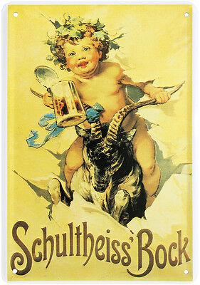 Schultheiss Bock Beer Nostalgie Blechschild Postkarte Retro Blechkarte PKM 68