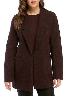 Eileen Fisher Cotton Tencel Stretch Pucker Notch Collar Jacket Cassis L NWT $358