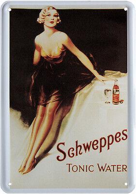 Schweppes Tonic Water Nostalgie Blechschild Postkarte Retro Blechkarte PKM 56