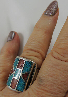 Beautiful 1960s Navajo Large Hand Fabricated Stamped Chip Inlay Ring Classic Sz9