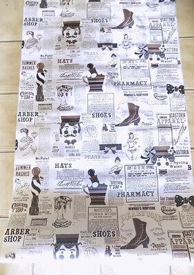 Vintage Vinyl Wallpaper Old Fashioned Advertising Barber Pole Hats 5 Pcs. 4+ Yds