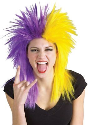 PURPLE YELLOW SPORTS WIG Halloween School Team Spirit Unisex Costume Supply - Spirit Halloween Supplies