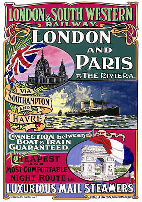Vintage LSWR Railway Poster: London & Paris *DISCOUNTED OFFERS*  A3 / A4