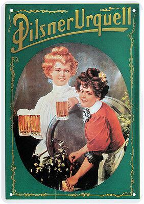 Pilsner Urquell Bier Nostalgie Blechschild Postkarte Reklame Blechkarte PKM 37