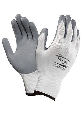 12 Pr Ansell Hyflex 11-800 Foam Nitrile Coating Glove 10