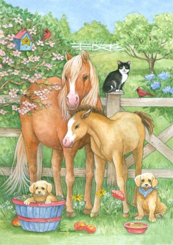NEW TOLAND GARDEN FLAG FARM PASTURE PALS HORSE COLT CAT PUPPIES 12.5 x 18
