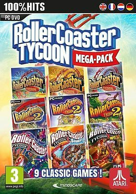 Rollercoaster Tycoon Ultimate Collection 9 Pack 1 2 3 Plus 6 Expansions Complete