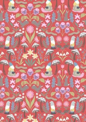 Lewis & Irene Jolly Spring Small Gnomes Red - Per 1/4 Metre