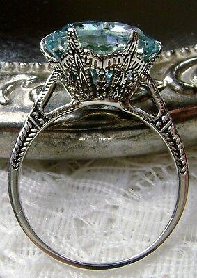 5ct *Aquamarine* Sterling Silver Edwardian 1910 Filigree Ring {Made To Order}