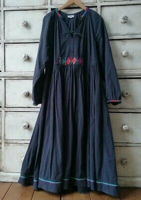 Vintage Indian Smock Dress Anokhi Embroidered Indigo Blue Cotton Hippy Summer