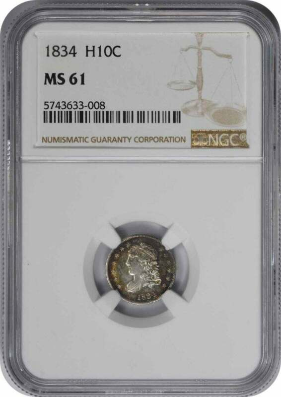 1834 Bust Silver Half Dime MS61 NGC