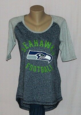Seattle Seahawks Womens Football Raglan 3/4 Sleeve T-Shirt - NFL Majestic