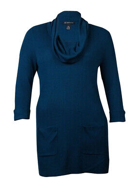 INC International Concepts Womens Patch-Pocket Cowl Sweater (0X, Turquoise Dove) ()
