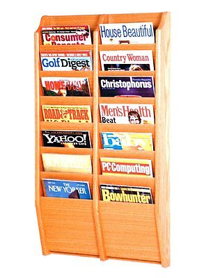 Wooden Mallet Cascade 14 Pocket Magazine Rack Light Oak 20.5