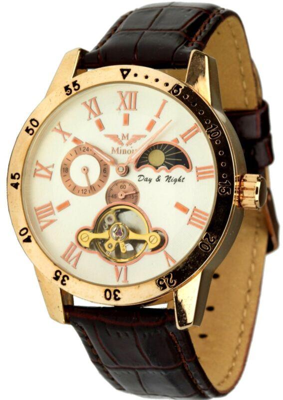Minoir Uhren Herrenuhr Modell Avignon rotgold/weiss Automatikuhr Lederband