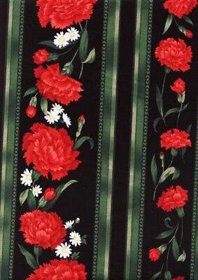 Easy Striped Table Runner (Easy Striped Table Runner Quilt FABRIC KIT w/TT Carnation & Daisy  Black Stripe )