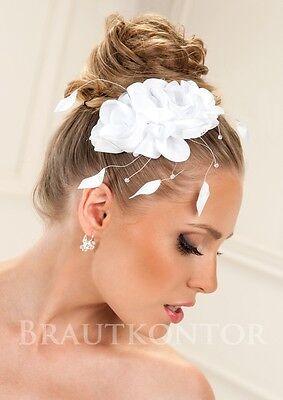 Swarovski Haar ((BHA-101) Braut Haarschmuck Hochzeit Blume Satin Swarovski Kristalle WEISS IVORY)