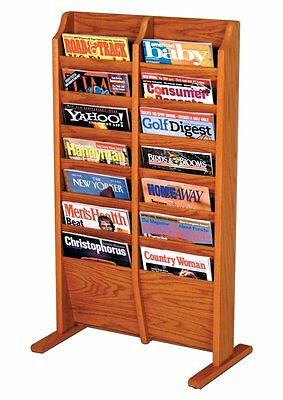 Wooden Mallet Cascade Free Standing 14 Pocket Magazine Rack Medium Oak MR14-FSMO