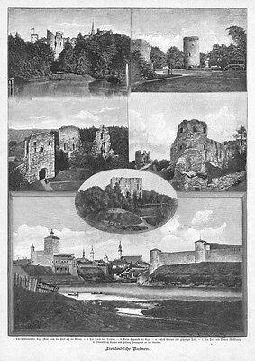Riga, Lettland, Latvia, Livland, Sammelblatt, Holzstich von ca. 1890