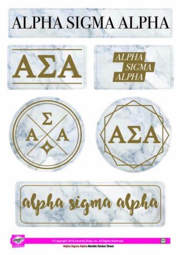 Alpha Sigma Alpha Sorority Stickers- Marble-New!
