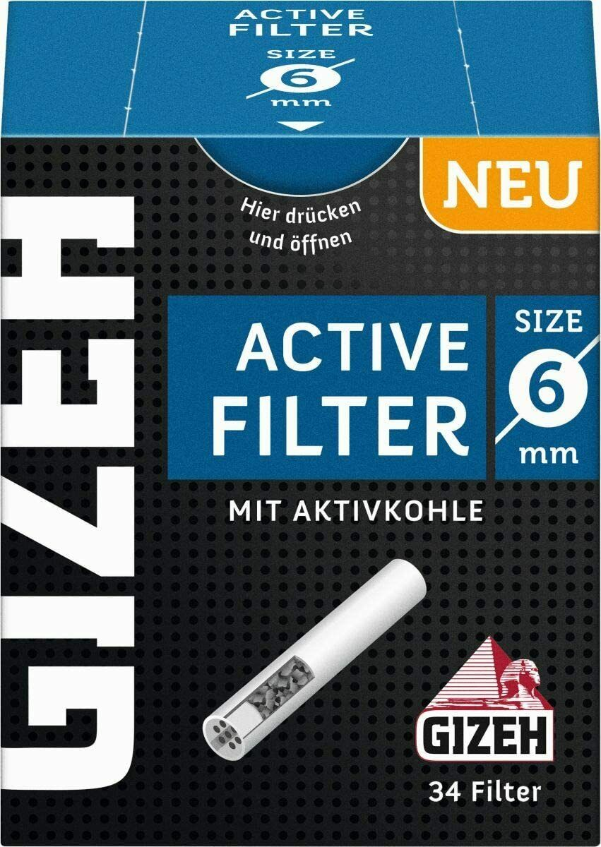 Gizeh Aktiv Active Filter 6mm Zigarettenfilter Aktivkohlefilter Joint Tips 1-20X