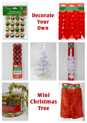 NEW ~ Decorate Your Own Mini White Christmas Tree Kit! ~ Office desks, tabletops - Office Desk Christmas Decorations