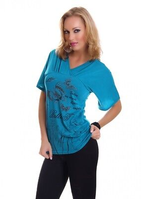 Damen Top Shirt Print Druck Schmetterling Butterfly stretch V-Ausschnitt Tunika ()