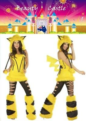 Furry Halloween Pikachu Women Cosplay Costume Plush Animal Party Cartoon Dress