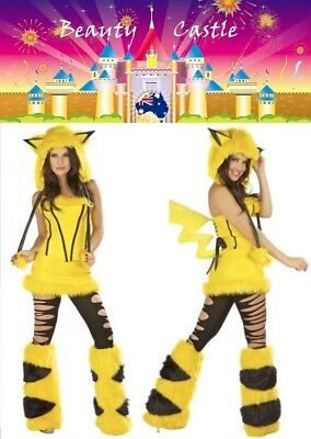 2019 Furry Halloween Pikachu Women Cosplay Costume Plush Animal Party Uniform