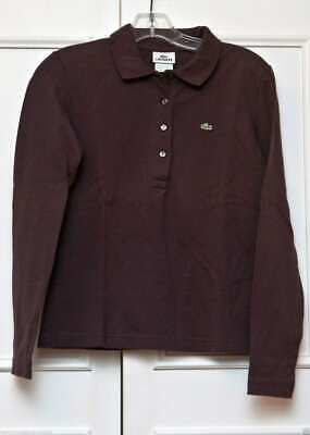 LACOSTE-BROWN LONG SLEEVE TOP, BUTTON DOWN FRONT-SIZE-42 EXCELLENT CONDITION