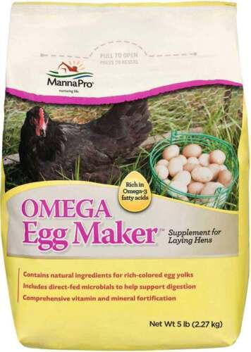 Manna Pro Omega Egg Maker Supplement for Laying Hens - Net Wt 5 lbs (2.27 kg)