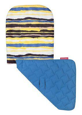 Maclaren Reversible Seat Liner Stroller Messy Stripe Yellow Deep Water Blue (Maclaren Reversible Stroller Liner)
