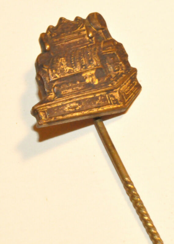 SMALL BRASS CASH REGISTER STICK OR LAPEL PIN
