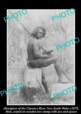 Used, OLD HISTORICAL ABORIGINAL PHOTO OF MAN WITH SPEAR, CLARENCE RIVER NSW c1870 for sale  Shipping to Canada