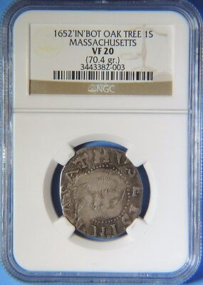 Click now to see the BUY IT NOW Price! 1652 IN AT BOTTOM OAK TREE SHILLING MASSACHUSETTS COLONIAL NGC VF20 4 D NOE 6