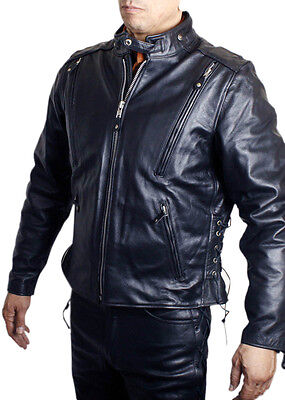 Men Ultimate Genuine Leather Vented Scooter Jacket w/Quilt -
