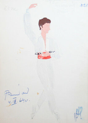 1964 Male dancer costume design watercolor drawing signed